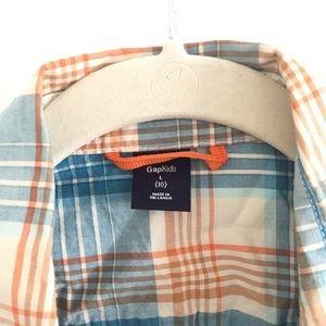 GAP Shirts & Tops - Gap kids Western Style blue/orange plaid. L-10